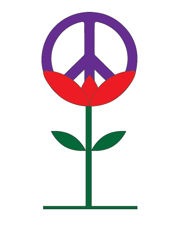 Peace symbol in a flower
