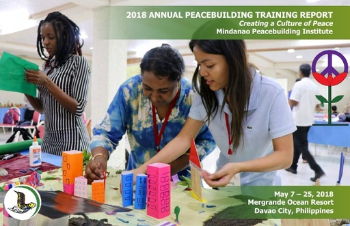MPI's 2018 Annual Peacebuilding Training Report cover, women constructing model city