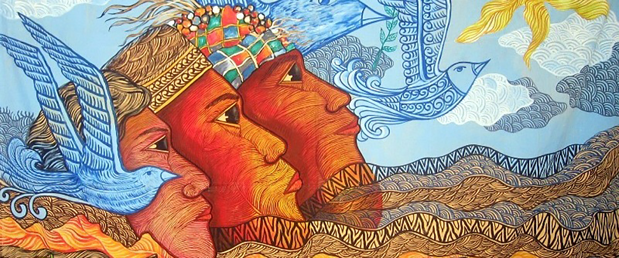 Painting of three faces of the tripartite people of Mindanao looking at the sun