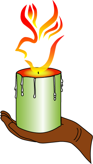 MPI 2015 Logo Hand holding candle with flame in shape of dove