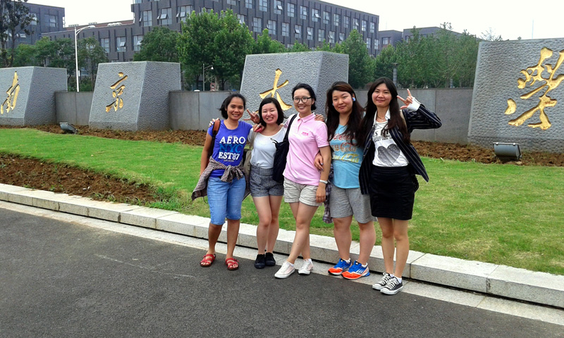 Outside Nanjing University: me with fellow NARPI participants from Japan China and Mongolia