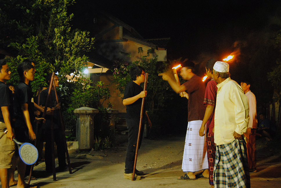 Filming a night scene