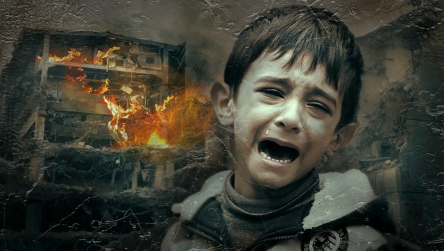 Child crying in front of burning house