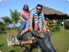 Participants at Eden Nature Park on a carabao/water buffalo statue