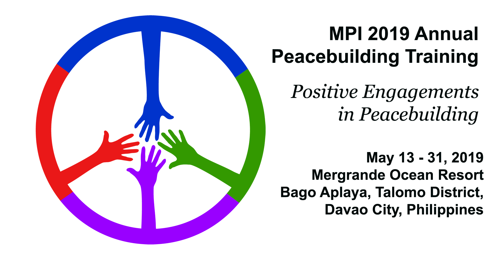 MPI 2019 Logo colored hands forming peace sign