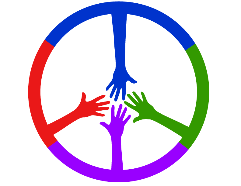 Four colored hands coming together to form peace sign