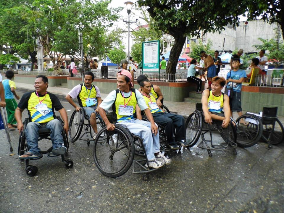Participants in wheelchairs in Run and Roll for Peace