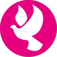 Women Peacemakers Program logo white dove inside pink circle