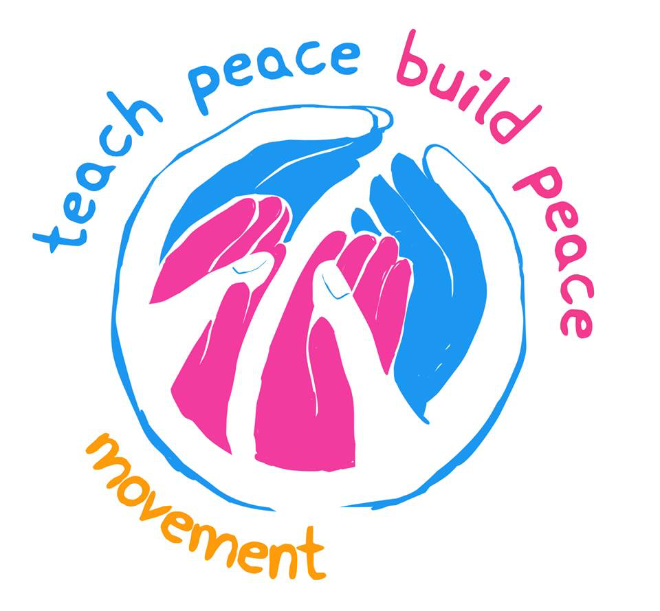 Teach Peace Build Peace Movement logo small hands inside larger making peace sign